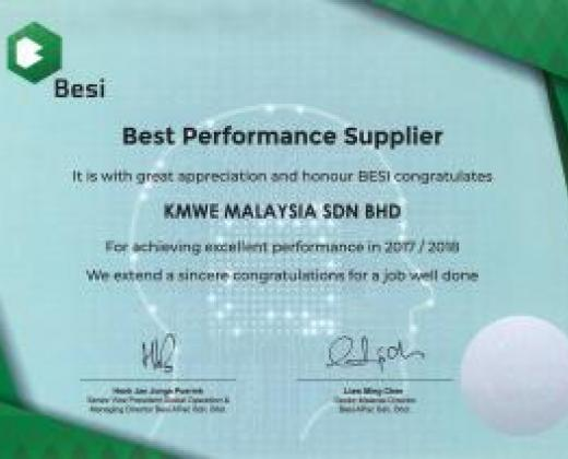 KMWE: Best Performance Supplier 2017/2018 van Besi